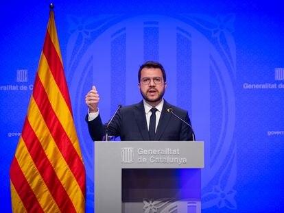Pere Aragonès en la rueda de prensa posterior al Consell Executiu de hoy.