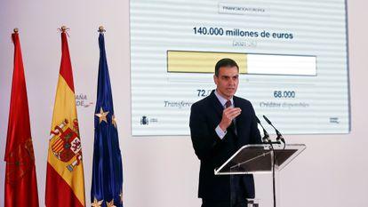 """El presidente del Gobierno, Pedro Sánchez, durante su intervención en la presentación de """"España Puede""""."""