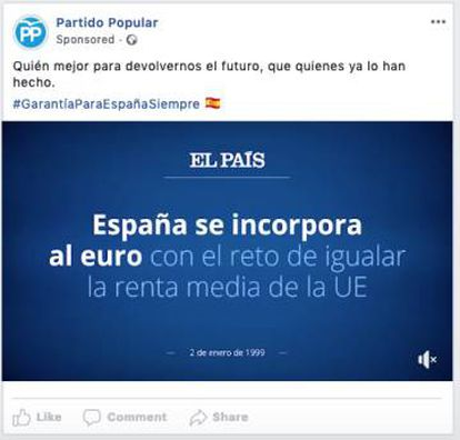Captura de pantalla de un anuncio del PP en redes sociales.