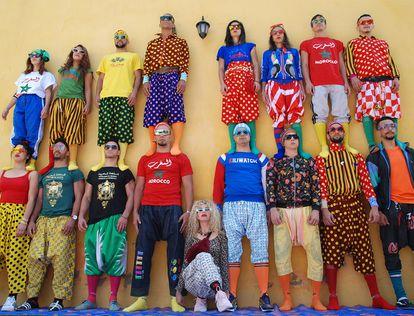 Los artistas del Groupe Acrobatique de Tanger .