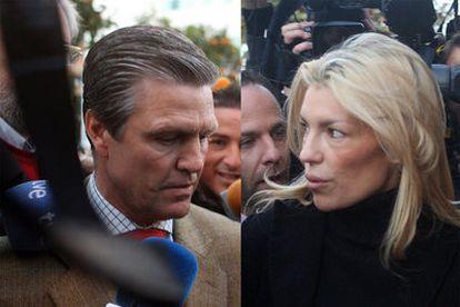 Juan Antonio Ruiz, <i>Espartaco,</i> y Patricia Rato, ayer en los juzgados de Sevilla.