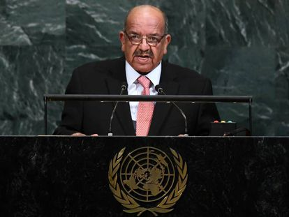 El Ministro de Asuntos Exteriores de Argelia, Abdelkader Messahel, en la ONU, en Nueva York, el pasado 22 de septiembre.