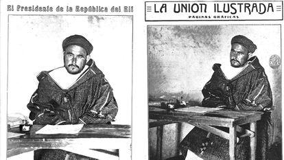 A la izquierda, retrato de Abdelkrim hecho por Díaz Casariego y publicado el 9 de agosto en 'Mundo Gráfico'; a la derecha, el realizado por Alfonsito, que salió en 'La Unión Ilustrada' el 13 de agosto.