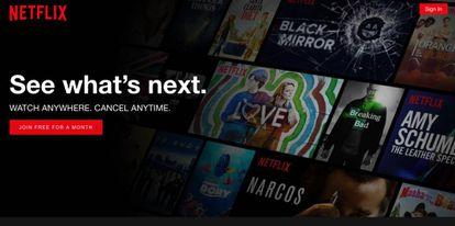 Portada de Netflix en el navegador.