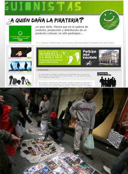 Arriba, página oficial de la campaña <i>Si eres legal, eres legal</i>. Abajo, vendedores de CD <b>piratas</b> en la calle de Preciados (Madrid).