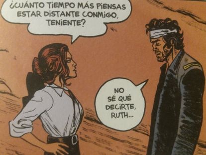 Blueberry and the wife of Fort Navajo commander Ruth Tyreen, in a cartoon from 'Apache Grudge'.