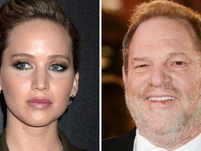 Jennifer Lawrence, en 2018, y Harvey Weinstein, en 2015.