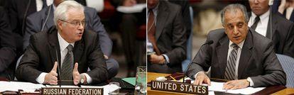 El embajador de Rusia y EE UU ante el consejo de seguridad durante la tercera sesión extraordinaria del Consejo de Seguridad