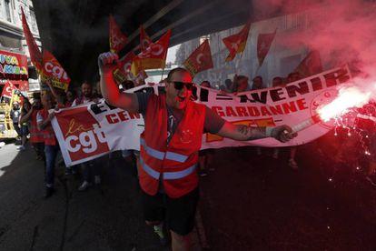Un momento de la manifestación en Marsella.