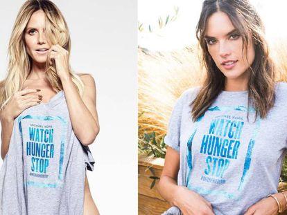 Heidi Klum y, a la derecha, Alessandra Ambrosio en la campaña contra el hambre de Michael Kors.