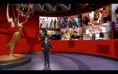 Jason Sudeikis, en el escenario virtual de los Emmy 2020 en Los Ángeles.