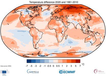 Diferencia de temperatura en 2020 respecto a la media del periodo 1980-2010.