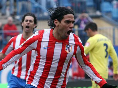Falcao celebra un gol frente al Villarreal.