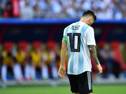 Messi, en su último partido con Argentina ante Francia en Rusia.