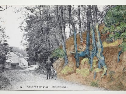 Postal de Anvers-sur-Oise donde se reconocen las raíces de los árboles que inspiraron a Vincent van Gogh.