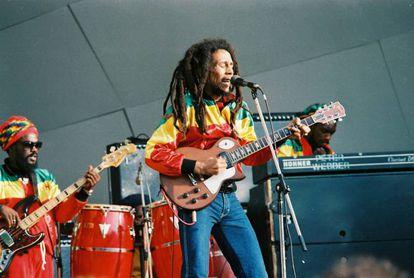 Bob Marley durante un concierto en 1980.