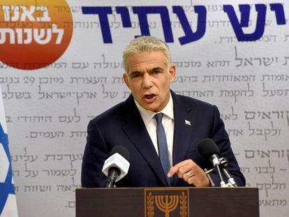 El líder de la oposición israelí, Yair Lapid, el lunes en Jerusalén.