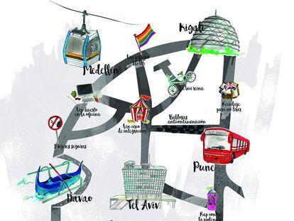 Ilustración del especial Ciudades espejo, sobre urbanismo sotenible.