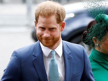 Enrique de Inglaterra y Meghan Markle, duques de Sussex, en marzo de 2020 en Londres.