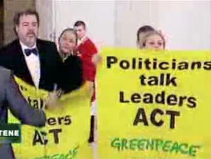 Manifestantes de Greenpeace
