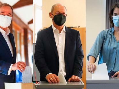 Armin Laschet (CDU), Olaf Scholz (SPD) y Annalena Baerbock (Los Verdes) votan este domingo en las elecciones alemanas.
