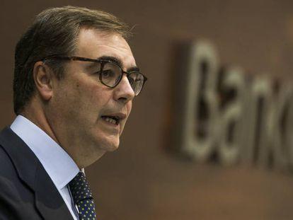 Jose Sevilla, Consejero Delegado de Bankia, presenta resultados del trimestre en Madrid.