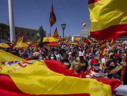 Concentración este domingo en la plaza de Colón contra los indultos a los presos del 'procés'.