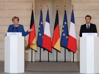 Emmanuel Macron y Angela Merkel, el 13 de octubre en París. En vídeo, las declaraciones de ambos.
