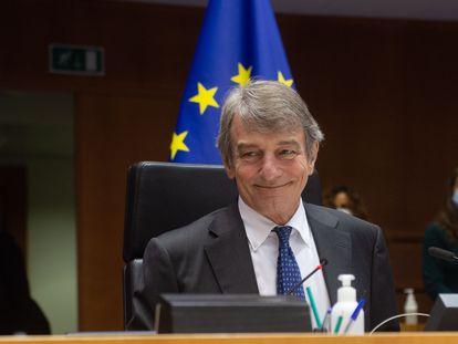 El presidente del Parlamento Europeo, David Sassoli, el 27 de abril de 2021 en Bruselas.