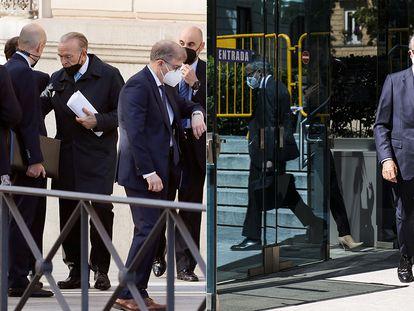 El expresidente de CaixaBank Isidro Fainé (a la izquierda, con papeles en la mano) y el presidente de Repsol, Antonio Brufau, este viernes.