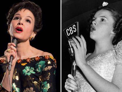 A la izquierda, Renée Zellweger; a la derecha Judy Garland.