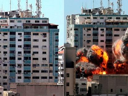 El bombardeo del edificio donde estaban las oficinas de Associated Press y Al Jazeera en Gaza, en imágenes