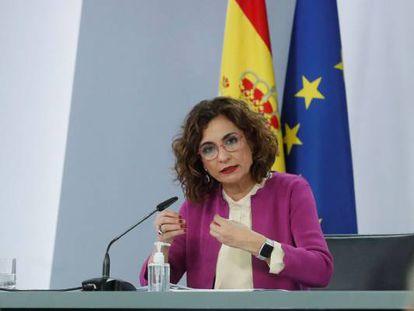 La ministra de Hacienda y portavoz del Gobierno, María Jesús Montero durante una rueda de prensa ofrecida tras la reunión del Consejo de Ministros.