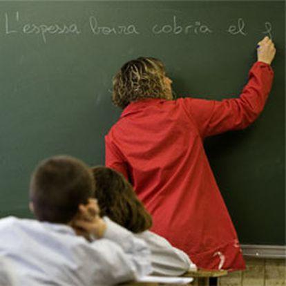 Una clase del colegio concertado Mare de Deu del Roser de Barcelona.