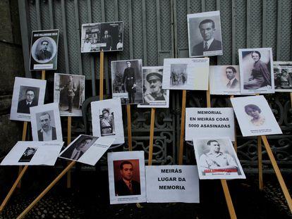 Carteles con algunos de los represaliados por el franquismo cuya memoria debe reivindicarse en Meirás, según defienden los organizadores de la marcha del sábado.