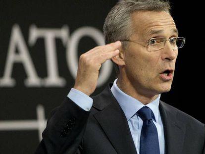 Jens Stoltenberg, durante su comparecencia en la sede de la OTAN.