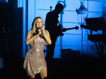 Mariah Carey, durante su concierto en Barcelona este lunes.