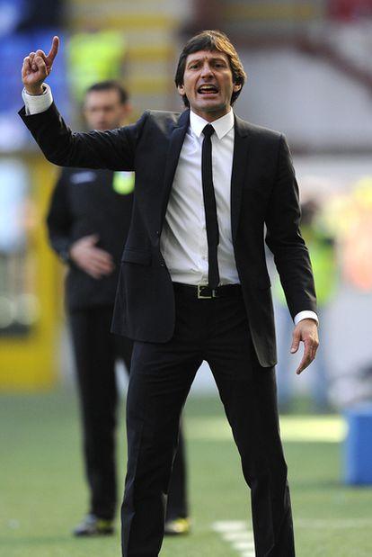 El entrenador brasileño del Inter de Milán, Leonardo, durante el partido liguero frente al Lecce.