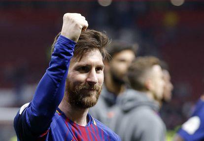 Messi celebra la victoria del Barcelona en la Copa del Rey, el pasado sábado.