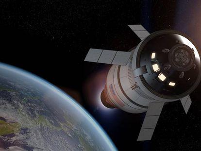 Recreación de la nave 'Orión' en un viaje a la Luna.