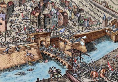 Grabado del saqueo de una ciudad belga por los Tercios en 1583.