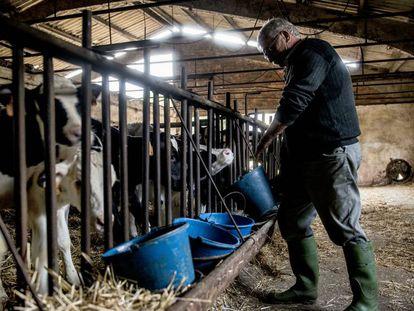 Un ganadero en una granja de Girona.