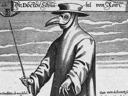 Ilustración de un médico vestido para protegerse de la peste. La máscara con pico sostenía especias para purificar el aire y la vara se utilizaba para evitar tocar a los pacientes (c. 1656)