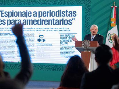 López Obrador, este jueves durante una rueda de prensa en el Palacio Nacional.
