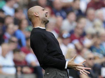 El entrenador del Manchester City, Pep Guardiola, durante el partido de liga el sábado.