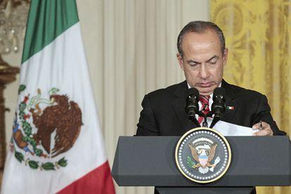 El presidente mexicano, Felipe Calderón, este jueves tras su reunión con Obama en la Casa Blanca.