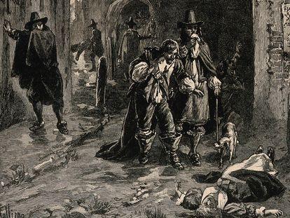 Dos hombres descubren el cadáver de una mujer en la calle durante la Gran Peste de Londres. Grabado en madera de J. Jellicoe según H. Railton.