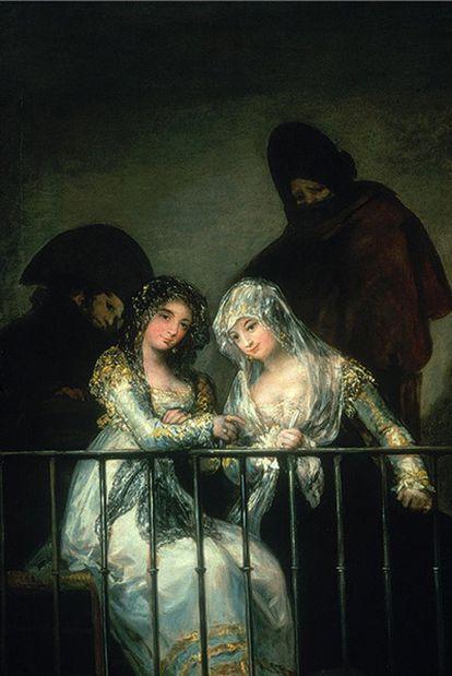 <i>Majas en el balcón</i>, atribuido a Francisco de Goya.