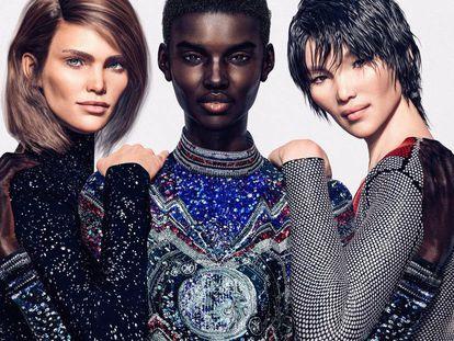 Margot, Shudu y Zhi, las tres modelos virtuales de Balmain.