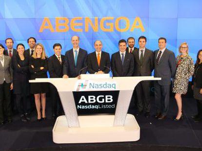 Representantes de Abengoa, al cierre del Nasdaq.